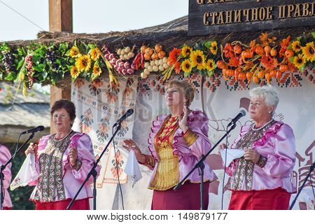 Folk Singer At A Concert In The Cossack Village Of Ataman. Folk Songs.