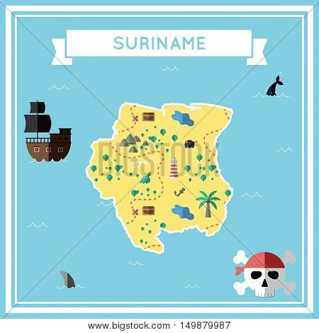 Flat Treasure Map Of Suriname. Colorful Cartoon With Icons Of Ship, Jolly Roger, Treasure Chest And