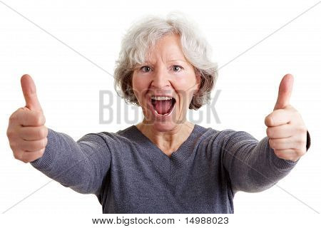 Joyful Old Woman Holding Both Thumbs Up