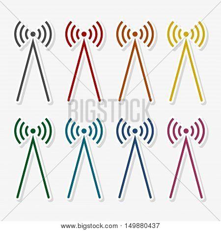 Radio wawe icon illustration set on gray background