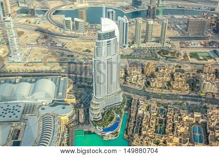 Dubai, United Arab Emirates - May 1, 2013: aerial view of Dubai Fountain area, Address Hotel and Dubai Mall in Dubai downtown, from top of the Burj Khalifa.