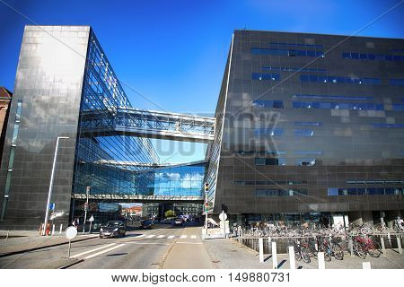 COPENHAGEN DENMARK - AUGUST 16 2016: The Black Diamond The Copenhagen Royal Library (Det Kongelige Bibliotek) is the national library of Denmark in Copenhagen Denmark on August 16 2016.
