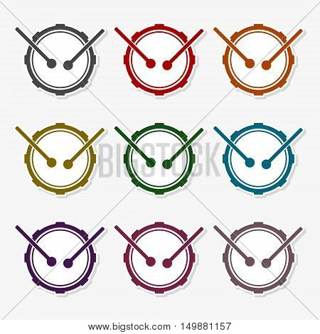 Snare drum icons set on gray background