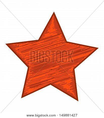 Red shaded grunge star. Vector design element.