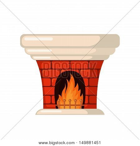 Brick fireplace icon in flat style isolated on white background. Vector illustration.