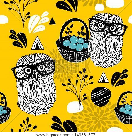 Autumn time seamless pattern with forest owls in glasses. Vector endless background.