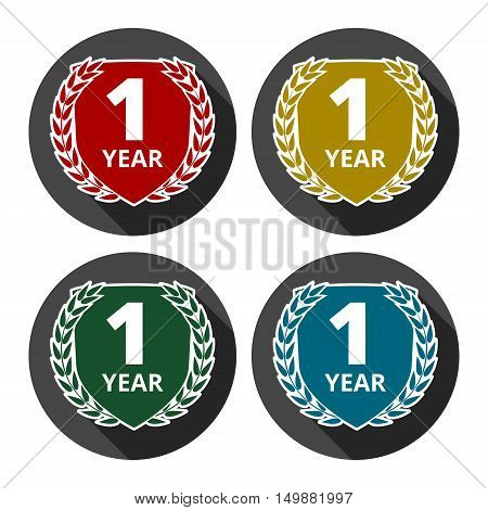 Laurel wreath one year icons set with long shadow