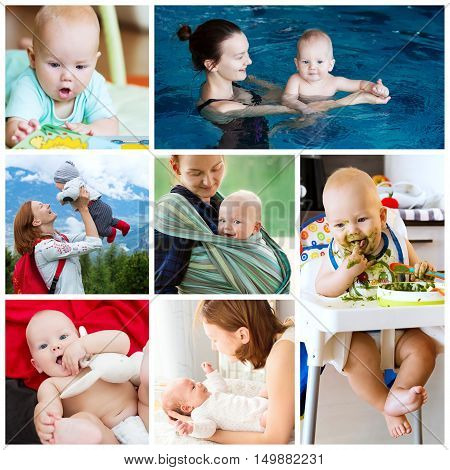 Collage of photos mother and baby - daily routine. Maternity and activity with baby. Collage of Lifestyle Maternity Family Baby 0-12 months.