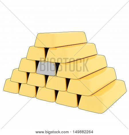 A 3D, cartoon rendering of a stack of gold bars with a single silver bar in the center.