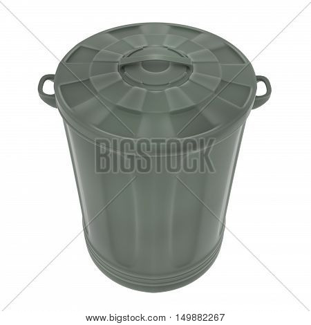 A 3d render of a green plastic garbage can with the lid on.