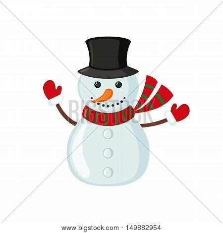 Snowman icon in flat style isolated on white background. Vector illustration.