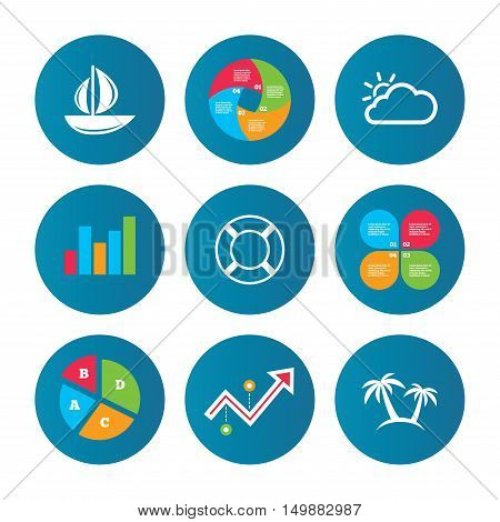 Business pie chart. Growth curve. Presentation buttons. Travel icons. Sail boat with lifebuoy symbols. Cloud with sun weather sign. Palm tree. Data analysis. Vector