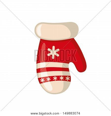 Christmas mitten icon in flat style isolated on white background. Vector illustration.