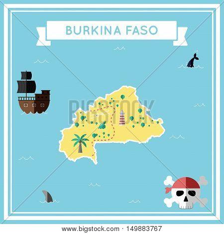 Flat Treasure Map Of Burkina Faso. Colorful Cartoon With Icons Of Ship, Jolly Roger, Treasure Chest