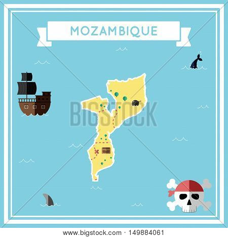 Flat Treasure Map Of Mozambique. Colorful Cartoon With Icons Of Ship, Jolly Roger, Treasure Chest An