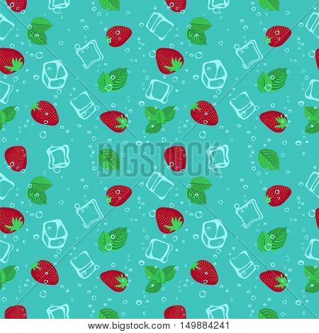 Strawberry mojito seamless vector pattern.  Ice cubes, strawberry and mint illustration.