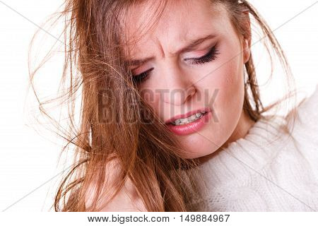 Woman Pulls Hair With Problems.