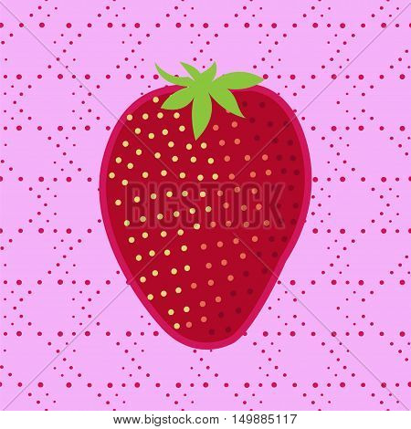 Strawberry vector illustration. Patch badge clip-art strawberry.