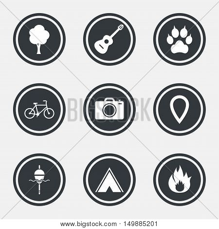 Tourism, camping icons. Fishing, fire and bike signs. Guitar music, photo camera and paw with clutches. Circle flat buttons with icons and border. Vector