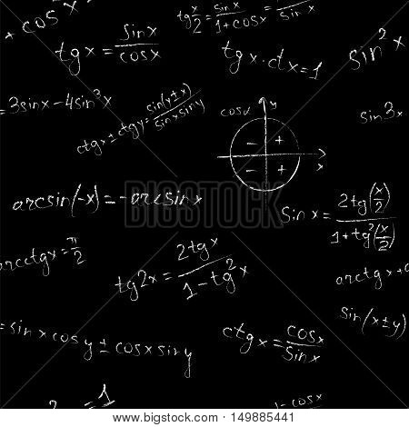 Algebra seamless vector pattern on black background. Blackboard formulas.