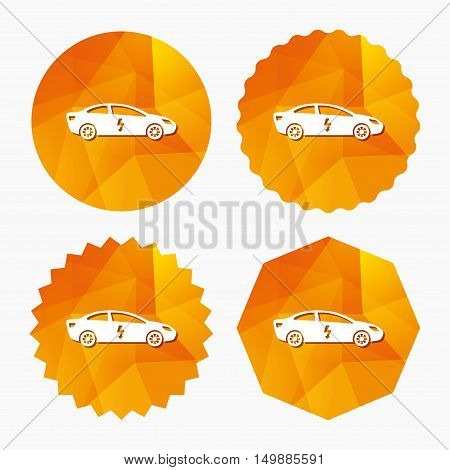 Electric car sign icon. Sedan saloon symbol. Electric vehicle transport. Triangular low poly buttons with flat icon. Vector