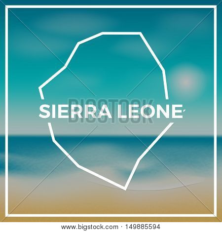 Sierra Leone Map Rough Outline Against The Backdrop Of Beach And Tropical Sea With Bright Sun.