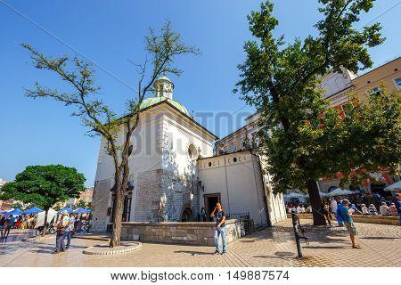 Krakow, Poland - September 16, 2016: The Single-nave Building Of Church Of St. Wojciech In The Marke
