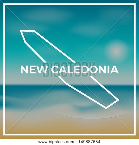New Caledonia Map Rough Outline Against The Backdrop Of Beach And Tropical Sea With Bright Sun.