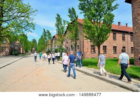 OSWIECIM POLAND - MAY 12 2016: Masonry blocks in concentration camp Auschwitz-Birkenau in Oswiecim Poland.