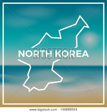 Korea, Democratic People's Republic Of Map Rough Outline Against The Backdrop Of Beach And Tropical