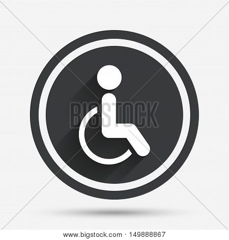 Disabled sign icon. Human on wheelchair symbol. Handicapped invalid sign. Circle flat button with shadow and border. Vector