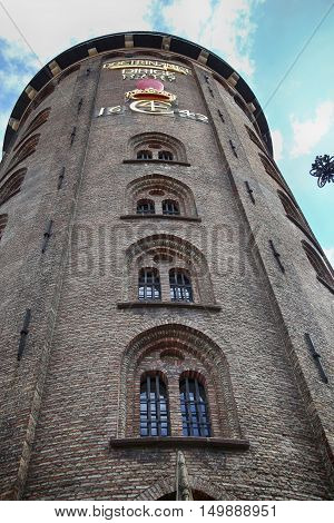 Copenhagen Denmark - August 15 2016: The Rundetaarn (Round Tower) built by king Christian the fourth in the years 1637-42 in central Copenhagen Denmark on August 15 2016.