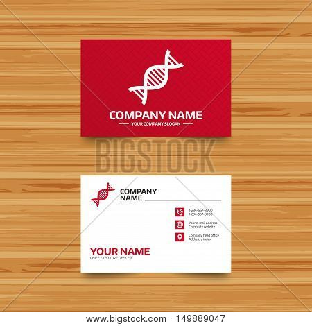 Business card template. DNA sign icon. Deoxyribonucleic acid symbol. Phone, globe and pointer icons. Visiting card design. Vector