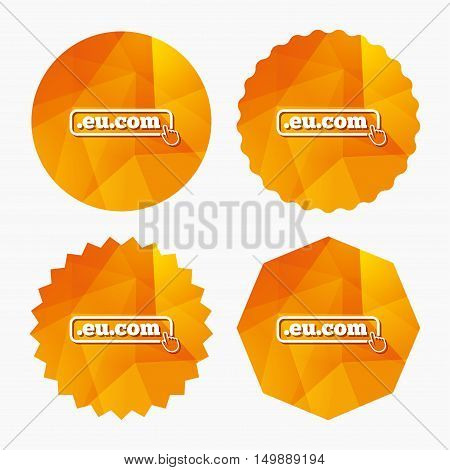 Domain EU.COM sign icon. Internet subdomain symbol with hand pointer. Triangular low poly buttons with flat icon. Vector