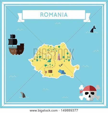 Flat Treasure Map Of Romania. Colorful Cartoon With Icons Of Ship, Jolly Roger, Treasure Chest And B