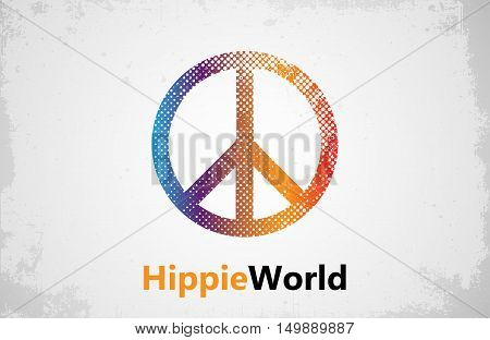 Make Love Not War - Hippie style. PEACE logo. Color hippie