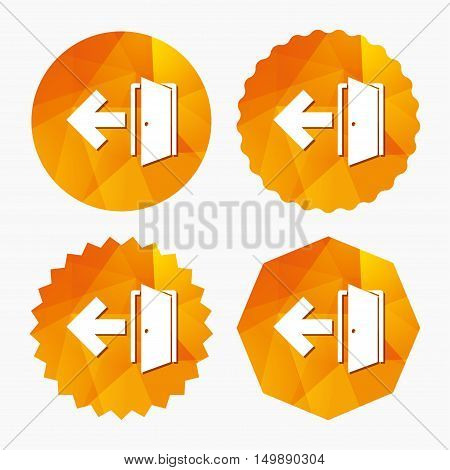 Emergency exit sign icon. Door with left arrow symbol. Fire exit. Triangular low poly buttons with flat icon. Vector