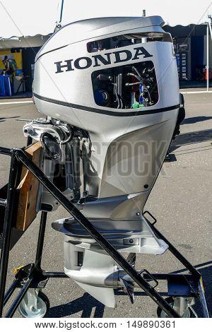 NORWALK- SEPTEMBER 25: Honda engine exhibit at Norwalk boat show  in Norwalk, USA on September 25, 2016