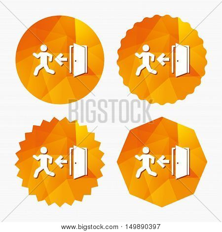 Emergency exit with human figure sign icon. Door with left arrow symbol. Fire exit. Triangular low poly buttons with flat icon. Vector