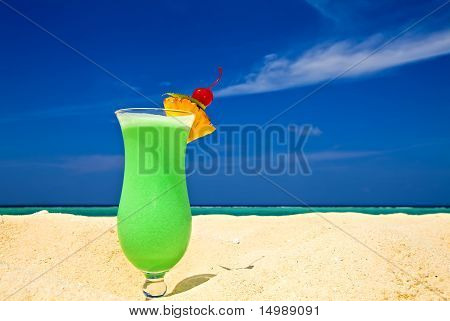 Fruity Cocktail Is On A Beach