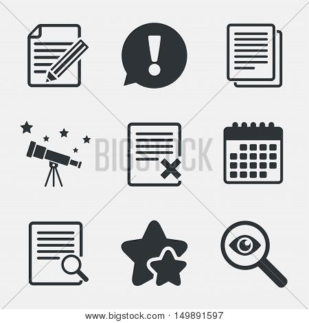 File document icons. Search or find symbol. Edit content with pencil sign. Remove or delete file. Attention, investigate and stars icons. Telescope and calendar signs. Vector
