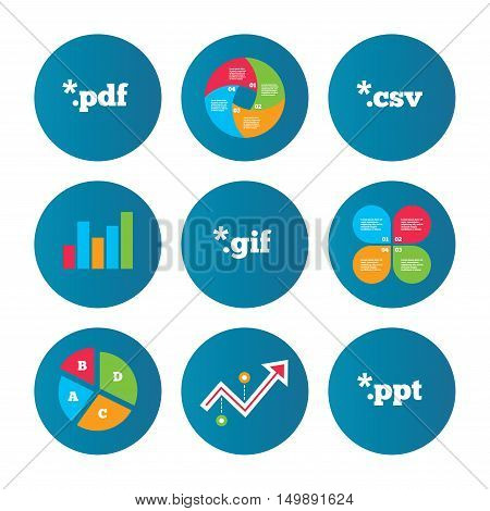 Business pie chart. Growth curve. Presentation buttons. Document icons. File extensions symbols. PDF, GIF, CSV and PPT presentation signs. Data analysis. Vector