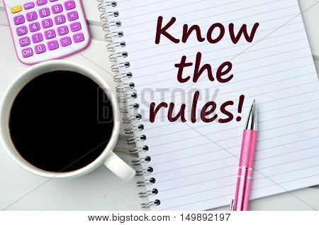 Know the rules words on notebook page