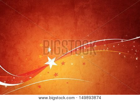 Computer generated orange background with shapes, blurs, motion an light effects