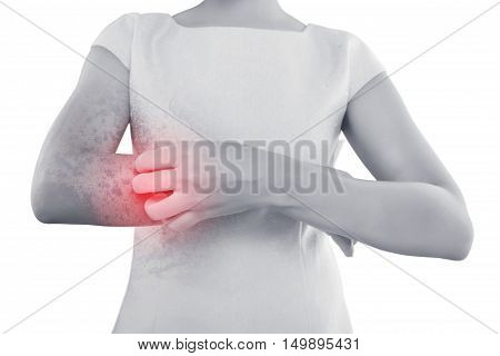 People scratch the itch with hand Wrist Itching Concept with Healthcare And Medicine.