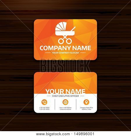 Business or visiting card template. Baby pram stroller sign icon. Baby buggy. Baby carriage symbol. Phone, globe and pointer icons. Vector
