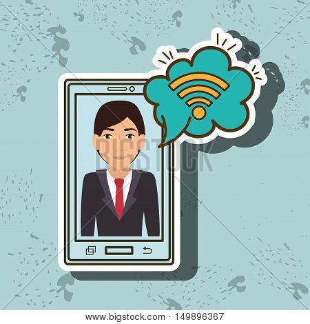 cartoon man smartphone blue wifi cloud blue vector illustration