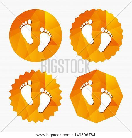 Child pair of footprint sign icon. Toddler barefoot symbol. Baby's first steps. Triangular low poly buttons with flat icon. Vector