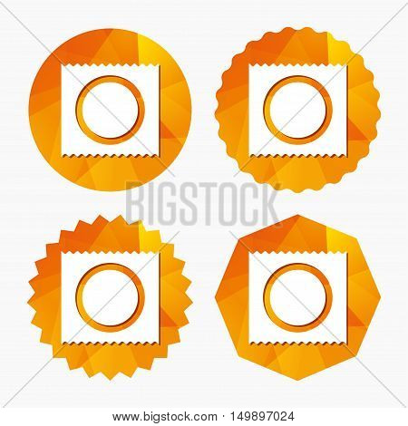 Condom in package safe sex sign icon. Safe love symbol. Triangular low poly buttons with flat icon. Vector