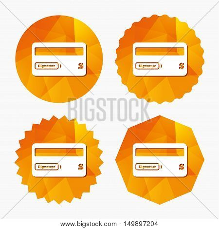 Credit card sign icon. Debit card symbol. Virtual money. Triangular low poly buttons with flat icon. Vector
